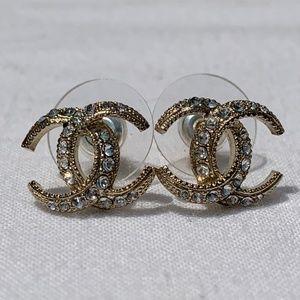 Chanel Swavorski Crystal Classic CC Earrings